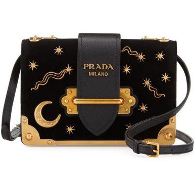 Prada Cahier Astrology Velvet Shoulder Bag